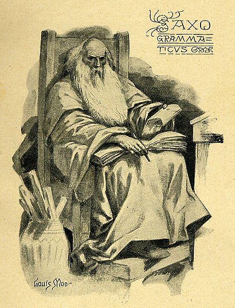 Saxo, i en teckning som nog är ungefär lika historisk som hans bok.